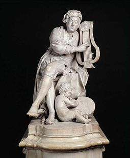 A carved marble statue of Handel at the Victoria and Albert Museum, London, created in 1738 by Louis-Francois Roubiliac HandelVA.jpg