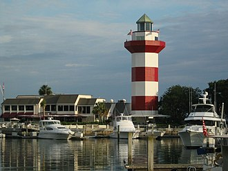 Hilton Head Island, South Carolina - Harbour Town Marina in Sea Pines Resort with the Harbour Town Lighthouse