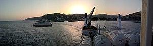 Agios Efstratios - Image: Harbour at Dawn at Agios Efstratios, Hellas