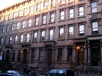 Brownstone - Four-story brownstones in New York City, just south of 125th Street, 2004