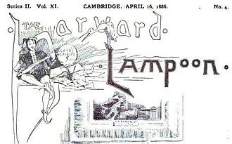 The Harvard Lampoon - Lampy posing in an image from an 1886 Lampoon