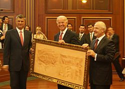 Hashim Thaci Joe Biden Fatmir Sejdiu with Declaration of Independence of Kosovo.JPG