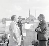 Hassan Fathy, Lawrence Durrell and Dimitri Papadimos, in Cairo.jpg