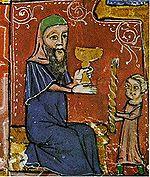 הבדלה - הברכה על היין, תחריט על עץ מהמאה ה-14