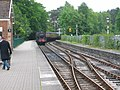 Haverthwaite Steam Railway locomotive arriving at Lakeside Station - geograph.org.uk - 501285.jpg