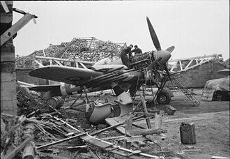 No. 85 Group RAF - Typhoon of 2nd TAF being overhauled among the wreckage at B78 Eindhoven