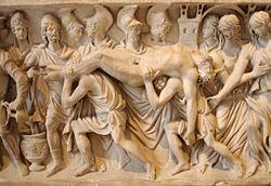 1cdf13583d8b Corps d Hector ramené à Troie, bas-relief d un sarcophage romain, v.  180-200, musée du Louvre