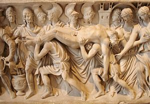 Hecuba - The death of Hector on a Roman sarcophagus, c. 200 AD