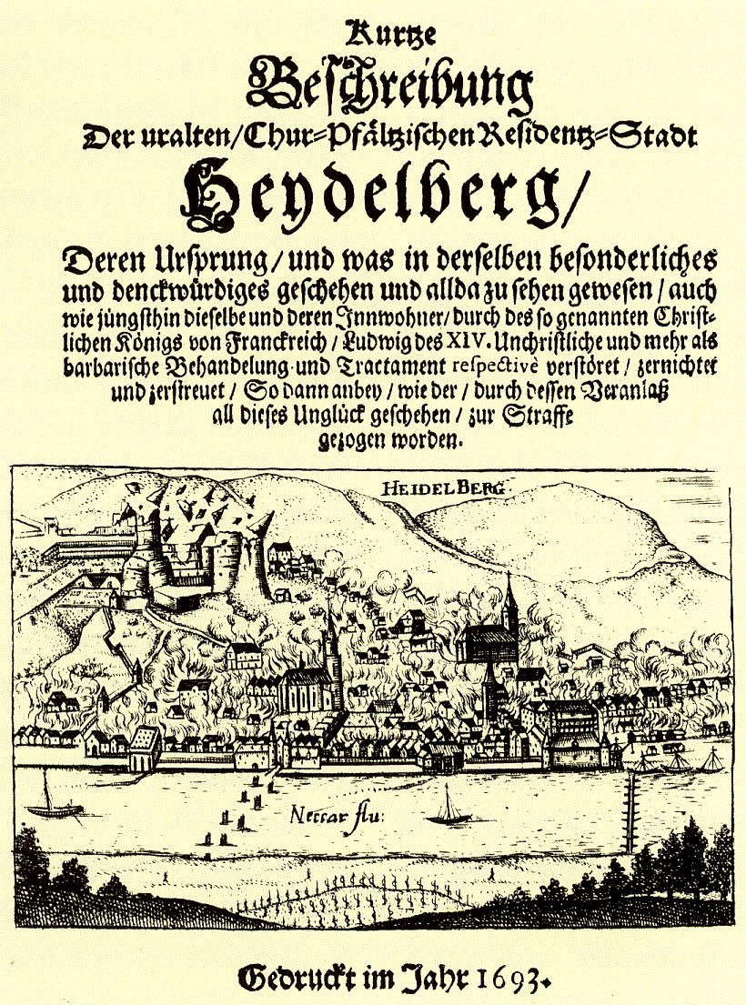 Heidelberger Schloss 1693 nach Zerstoerung
