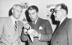 (de gauche à droite) Heinz Haber, Wernher von Braun et Willy Ley