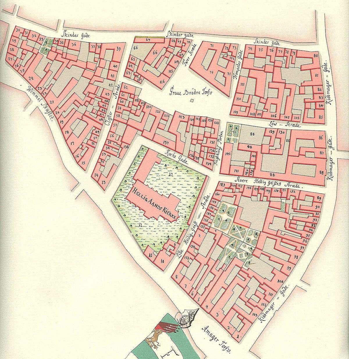 File Helligaandskirken Copenhagen Map Gedde 1757 Jpg Wikimedia