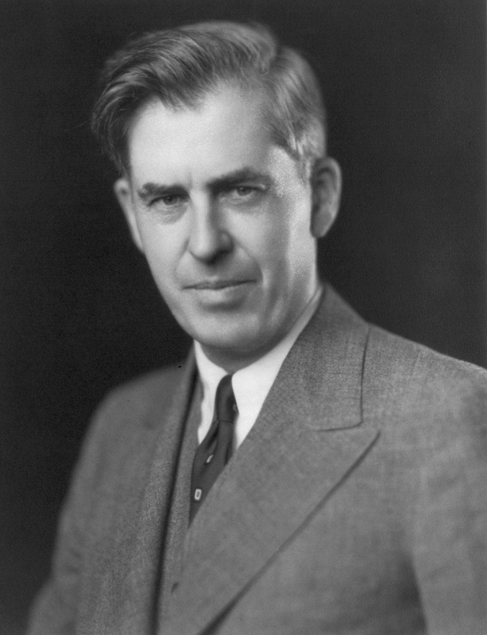 Black-and-white image of the head and shoulders of man about fifty with upswept hair, wearing a gray suit and a dark tie