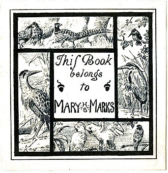 Henry Stacy Marks - A bookplate made by Marks for his wife, Mary, that demonstrates his love of drawing birds.