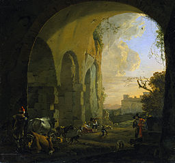 Drovers with cattle under an arch of the Colosseum in Rome