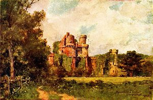 Wilfrid Ball - Herstmonceaux Castle, watercolor, 1906.