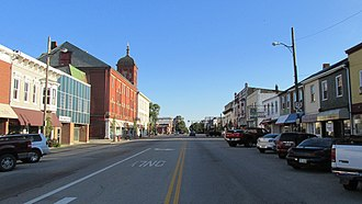 Hillsboro, Ohio - High Street; the tall structure is the Bell Opera House
