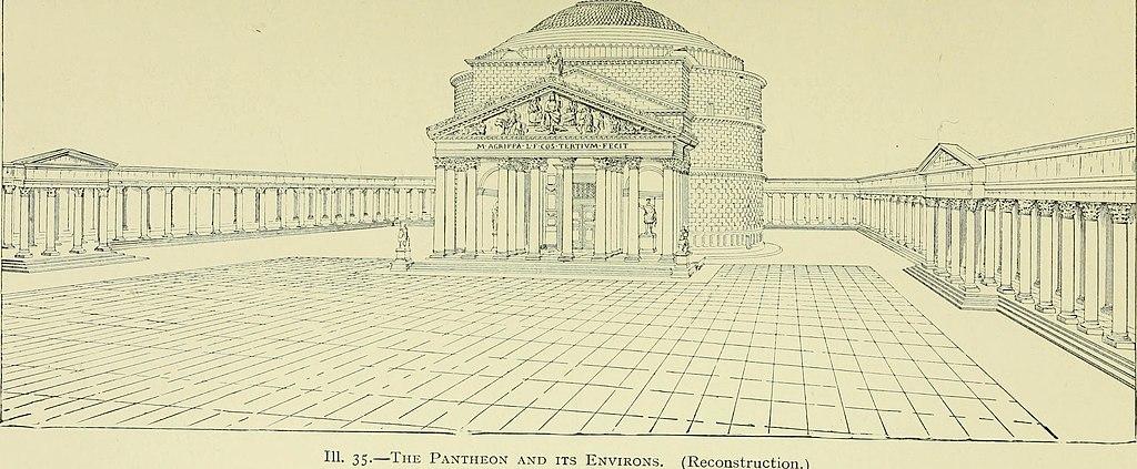 Reconstitution du Panthéon de Rome et de son environnement à l'antiquité.