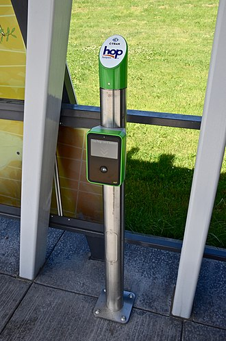 """Hop Fastpass - The Hop card readers at MAX stations and C-Tran """"Vine"""" stations are mounted on freestanding posts."""
