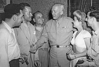 Frances Langford - Hal Block, Bob Hope, Barney Dean, General George S. Patton, Langford and Tony Romano
