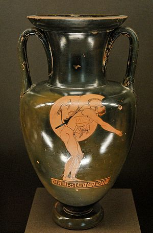 Leonidas of Rhodes - Neck amphora depicting an athlete running the hoplitodromos by the Berlin Painter, c. 480 BC, Louvre