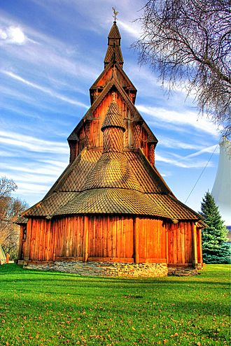 Hjemkomst Center - Hopperstad Stave Church replica at the Heritage Hjemkomst Interpretive Center
