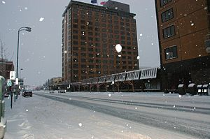 Wally Hickel - The Hotel Captain Cook in December 2008, looking westerly from the corner of Fifth Avenue and I Street.  Hickel's office was located on the second floor, immediately to the right of the camera position.