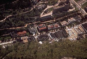 Bathhouse Row - Aerial view of Bathhouse Row