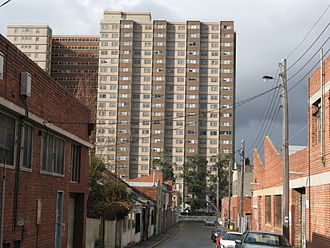 Housing Commission of Victoria - An 'S-shaped' 1960's high rise on Wellington Street in Collingwood