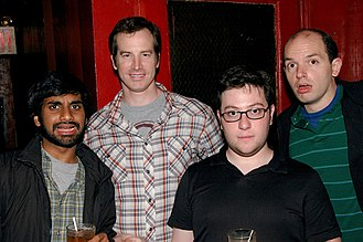 From left to right, Human Giant's Aziz Ansari, Rob Huebel, Jason Woliner, and Paul Scheer in May 2007 Human-giant.jpg
