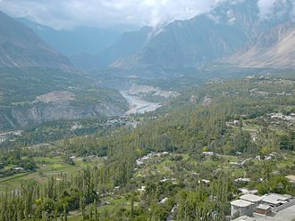 Nagar (princely state) - The Hunza valley looking across the river to Nagar