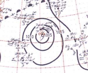 1948 Bermuda–Newfoundland hurricane - Image: Hurricane Dog (1948) analysis 13 Sep