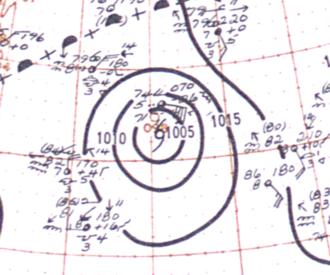1948 Bermuda–Newfoundland hurricane - Image: Hurricane Dog (1948) analysis 13 Sep