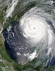 Hurricane Katrina near peak strength on August 28, 2005.