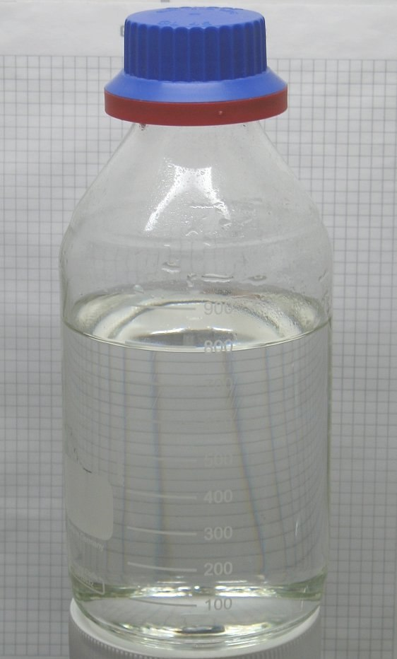 Sample of hydrochloric acid in a bottle