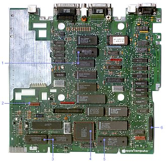 Apple IIc Plus - The IIc Plus motherboard, normally inaccessible in the closed system. Note (1) the MIG and its 2 KB SRAM, (2) the internal modem connector, (3) Dual 8 KB cache for CPU, (4) accelerator ASIC, (5) 4 MHz 65C02, and (6) memory expansion connector.