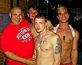 I am pictured here with (front) sexy Evan Mercy, (back) Trent Diesel and Josh on 5-18-12 at the infamous Tin Room in Dallas. AYE MIRA!! (7238014646).jpg