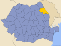 Administrative map of Romania with Iaşi county highlighted