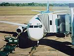 Iguazu International Airport, IGR. Boeing 737-200 of LAN Argentina at the apron.jpg