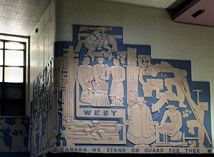 Montreal Central Station - A sample of the bas-relief artwork that adorns the concourse's walls.