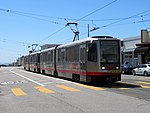 Inbound train at Taraval and 40th Avenue, June 2018.JPG
