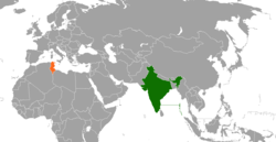 Map indicating locations of India and Tunisia
