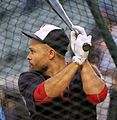 Indians outfielder Coco Crisp takes batting practice before World Series Game 6. (30420846290).jpg