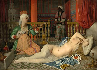 <i>Odalisque with Slave</i> painting by Dominique Ingres, Fogg Art Museum, 1839