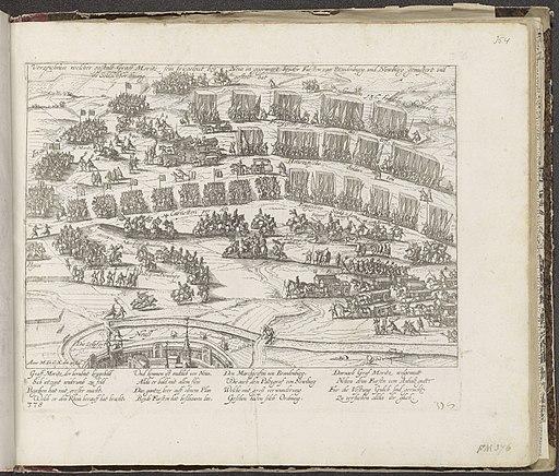 Inspectie van het leger van Maurits in slagorde bij Neuss, 1610 Verzeichnus welcher gestalt Graff Moritz sein kriegsleut bey Neus in gegewart beyder Fursten van Brandenburg und Newburg gemustert und , RP-P-OB-78.785-354