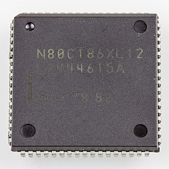 Chip carrier - Microcontroller Intel N80C186XL12 in QFJ68 / PLCC68, an example of a plastic leaded chip carrier