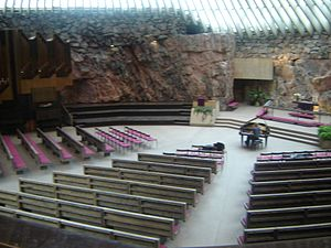 Interior of Temppeliaukio Church, otherwise known as the Rock Church (100483200).jpg
