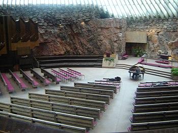 Interior of Temppeliaukio Church, otherwise known as the Rock Church (100483200).jpg