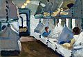 Interior of a naval ambulance train. Oil painting by Godfrey Wellcome V0017222.jpg