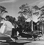 Ira C. Kepford of VF-17 taxies his F4U-1A Corsair on Bougainville, in February 1944 (80-G-419957).jpg