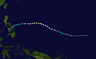 1953 Pacific typhoon season - Image: Irma 1953 track